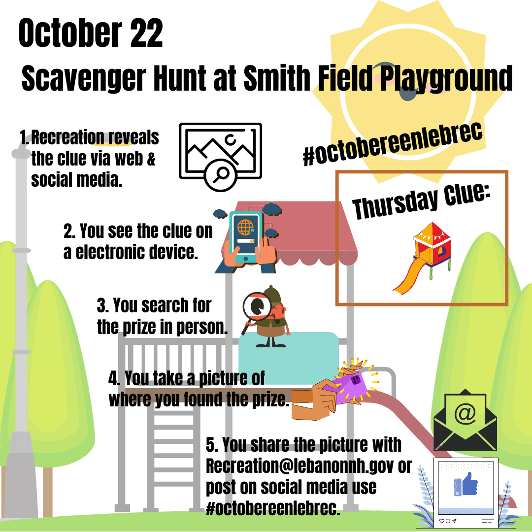 October 22 - Scavenger Hunt at Smith Field Playground Clue is slide. Opens in new window