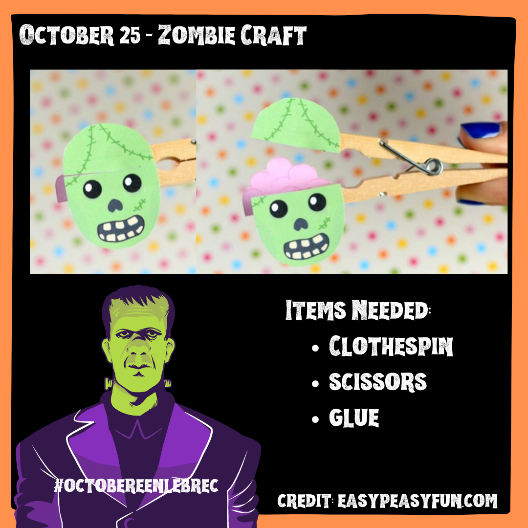 October 25 - Zombie Craft with clothespin, scissors, and glue. Opens in new window