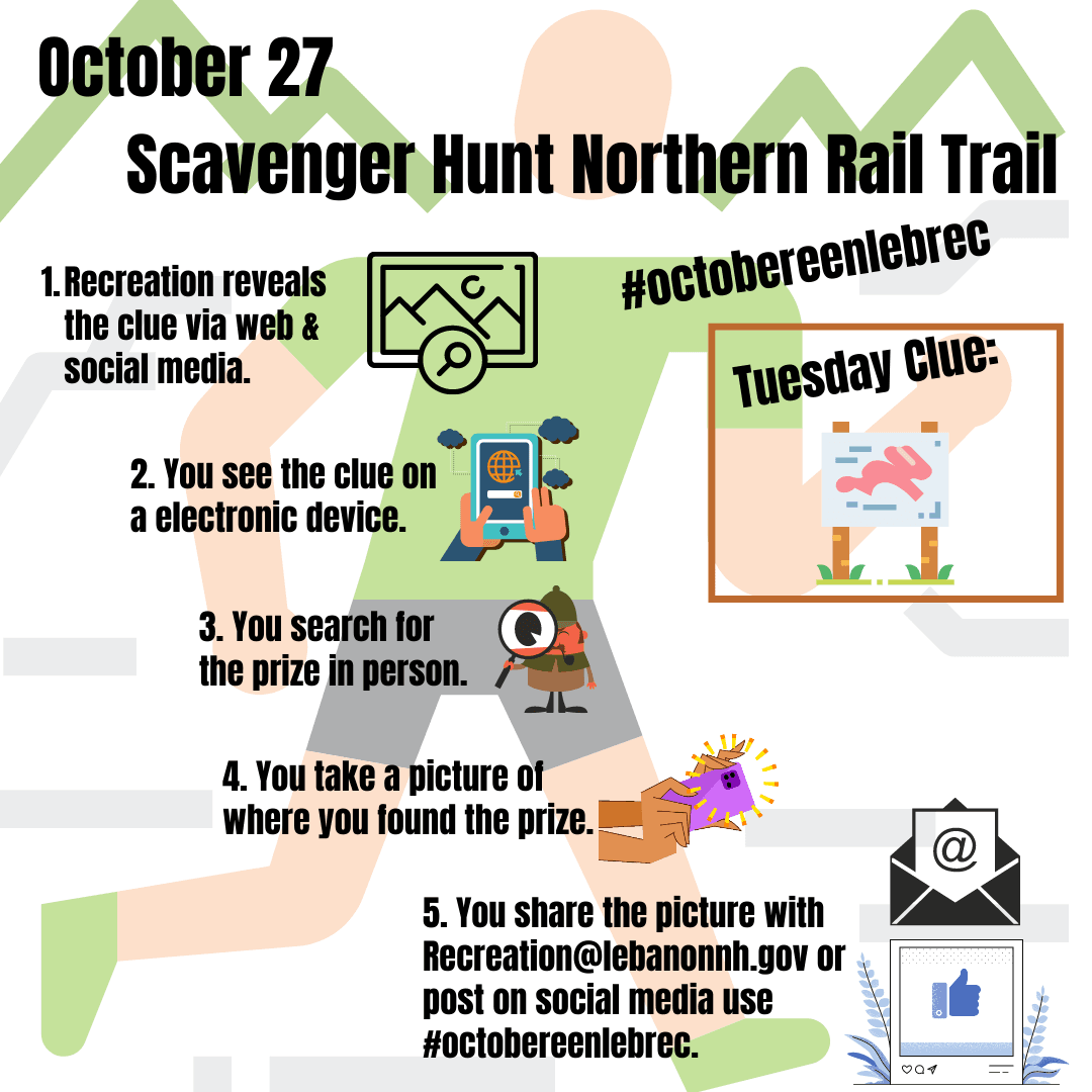 October 27 - Scavenger Hunt Northern Rail Trail and Clue is sign. Opens in new window