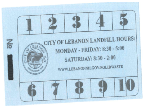 Lebanon Landfill Punch Card Blue