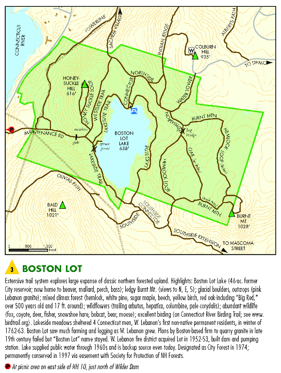 A map of Boston Lot and Boston Lot Lake.
